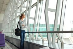 Waiting for a flight Stock Images