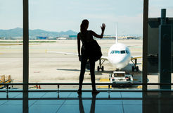 Waiting for the flight Royalty Free Stock Images