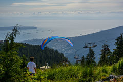 Waiting for the flight. View in Vancouver from Graus Mountain. Waiting for the flight Stock Photography