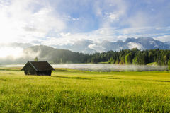 Waiting for the fog to go away at mountain lake Geroldsee village Gerold in Bavaria Germany Alps Royalty Free Stock Photography