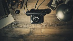 Free Waiting For An Important Phone Call In The Vintage Office Royalty Free Stock Images - 145697719