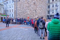 Waiting for galata tower royalty free stock image