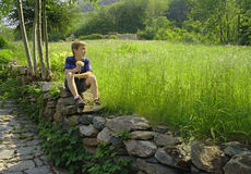 Waiting for the Girl. Young boy sitting on a stone wall with a bouquet of wild flowers Stock Images