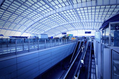 The waiting hall of the Beijing International Airport. Royalty Free Stock Images