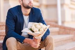 Waiting for his girlfriend. Stock Images