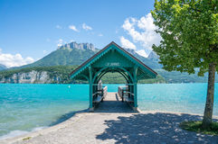 Waiting house for tourists to embark ships to Saint Joriz on Lac. A waiting area for the boat transfer to Saint Jorioz on Lac d& x27;Annecy in the South of royalty free stock images