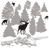 Waiting for the hunters. Jpeg and vector picture with hunters theme Royalty Free Stock Images