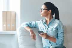 Waiting for important message. Stock Photography
