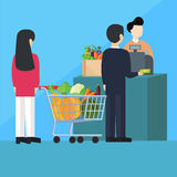 Waiting inline queue pay cashier grocery shopping Stock Image