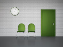 Waiting interior with clock and chairs Stock Photos