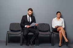 Waiting for an interview stock images