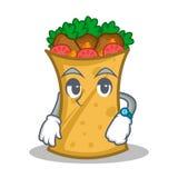 Waiting kebab wrap character cartoon. Vector art stock illustration
