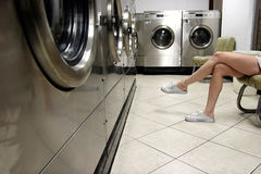 Waiting for laundry stock image