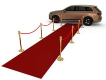 Waiting limousine on a red carpet Royalty Free Stock Image