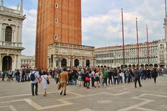 Waiting line on Saint Mark`s Square, Venice, Italy. Stock Images