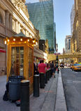 Waiting in Line for a Taxi on 42nd Street Near Grand Central Terminal, New York City, NYC, NY, USA Stock Photography