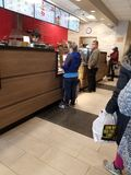 Waiting in Line. To order drinks and snacks royalty free stock photos