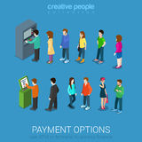 Waiting lines for ATM and payment terminal royalty free illustration