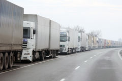 Waiting lorries Royalty Free Stock Photos