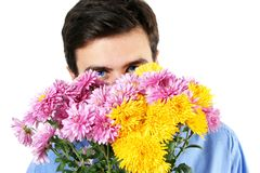 Waiting man and flowers Royalty Free Stock Images