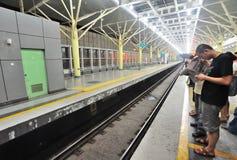 Waiting Metro. Waiting 13th Metro at night in Beijing, China Stock Photo
