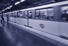 Waiting Metro Paris. Waiting for the train at the subway station in Paris, in Blue Duotone. Copyspace Stock Photography