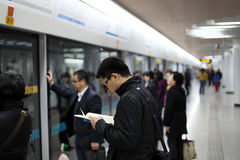 Waiting for the metro. Train in Shanghai, China Royalty Free Stock Photography
