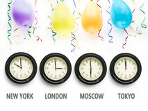 Waiting for the New Year around the world Stock Images