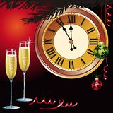 Waiting the New Year with champagne and clock Royalty Free Stock Photography