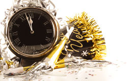 Waiting for the New Year with clock. On white Royalty Free Stock Photos