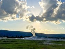 Old Faithful Geyser, Yellowstone National Park. Waiting for the Old Faithful Geyser to erupt is part of the experience that you will never forget. Such pretty royalty free stock images