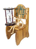 Waiting Out Time in Time Out Chair. Holding Hour Glass Stock Images