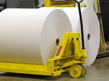 Waiting paper. Giant paper rolls waiting to be put on a printing press Royalty Free Stock Image