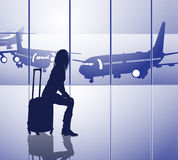 Waiting passenger in airport Royalty Free Stock Image