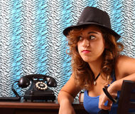 Waiting by the phone Royalty Free Stock Photos