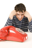 Waiting for a phone call Royalty Free Stock Photos