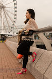 Waiting on the Pier of Hong Kong Island. In the afternoonf Stock Photos