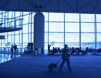 Waiting for planes travelers Stock Image