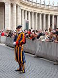 Waiting for the Pope, Swiss guard Stock Images