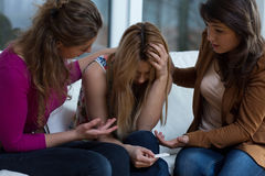 Waiting for pregnancy test outcome. Teenage girls waiting for pregnancy test outcome Royalty Free Stock Image