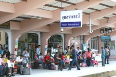 Passengers at railway station,Ubon Ratchathani, Thailand  Stock Photography