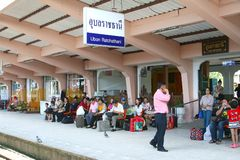 Waiting at the railway station,Ubon Ratchathani, Thailand  Royalty Free Stock Photos