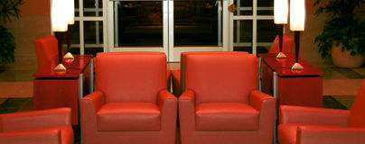 The waiting room. Red chairs in the corporate office Stock Image