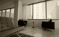 Waiting room. In medical office with city view, tinted royalty free stock images