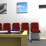 Waiting Room. With table, chairs, magazines and pictures Royalty Free Stock Image