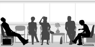 Waiting room. Editable  silhouettes of people sitting in a waiting room Stock Images