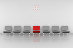 Waiting room. One waiting room with a row of chairs and one of them in different color (3d render Stock Photo