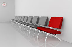 Waiting room. One waiting room with a row of chairs and one of them in different color (3d render Stock Images