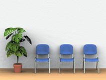 Waiting Room. Digital render of three chairs and a plant pot in front of a white wall Royalty Free Stock Photography