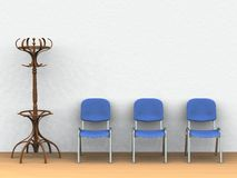 Waiting room. Digital render of a waiting room with a clothes stand and three blue chairs Royalty Free Stock Photo